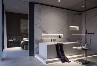 Prodigg cube basin displayed in the new zahra luxury apartment building.