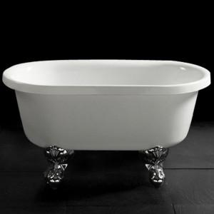 MIKKY Small Bathtub 74cm Standing Bathtub Freestanding ovale Shape